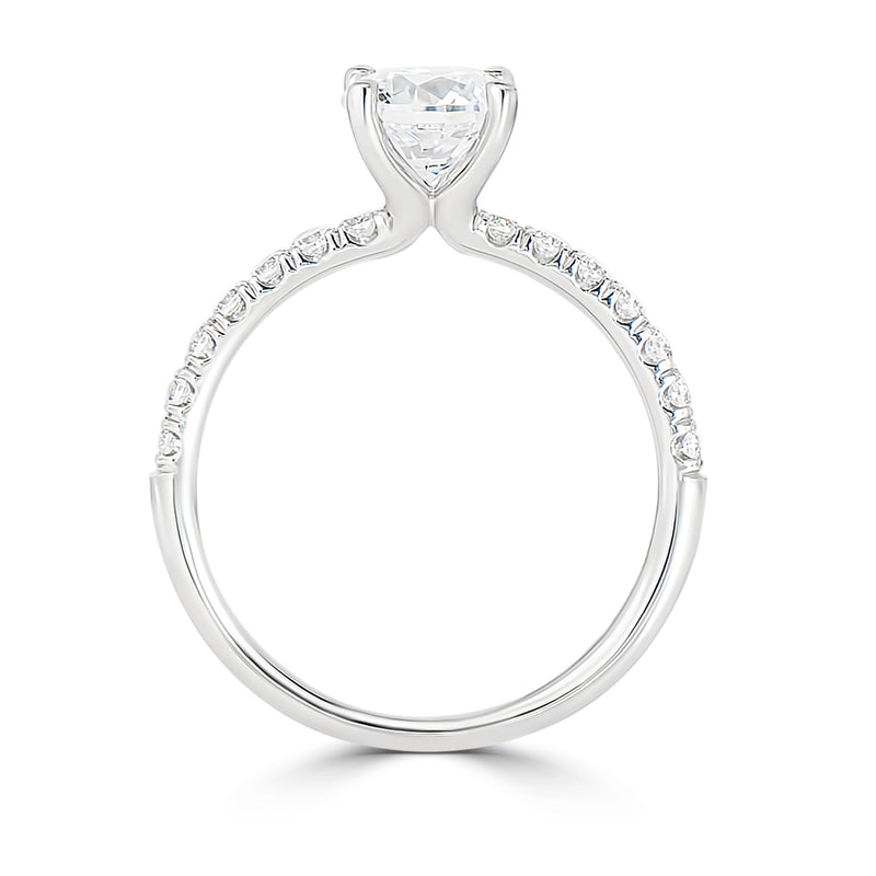 Four Claw Round Pavé Set Engagement Ring