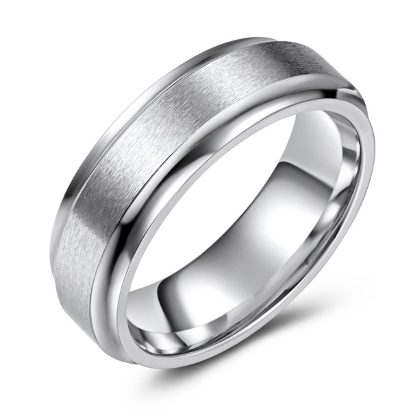 Brushed Finish Cobalt Ring with High Polish Edges (7mm)