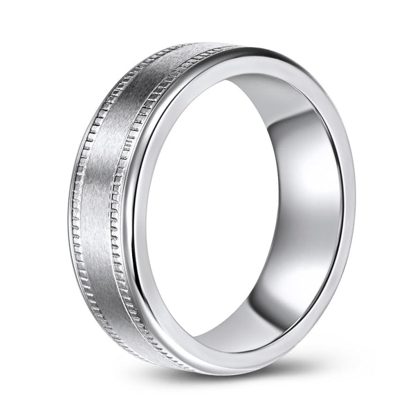 Brushed Finish Centre Cobalt Ring with Double Milled Pattern (7mm)