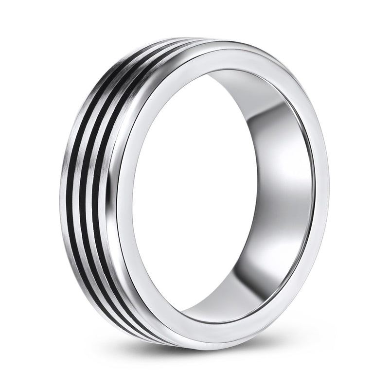 Three Row Concave Center Cobalt Ring (7mm)
