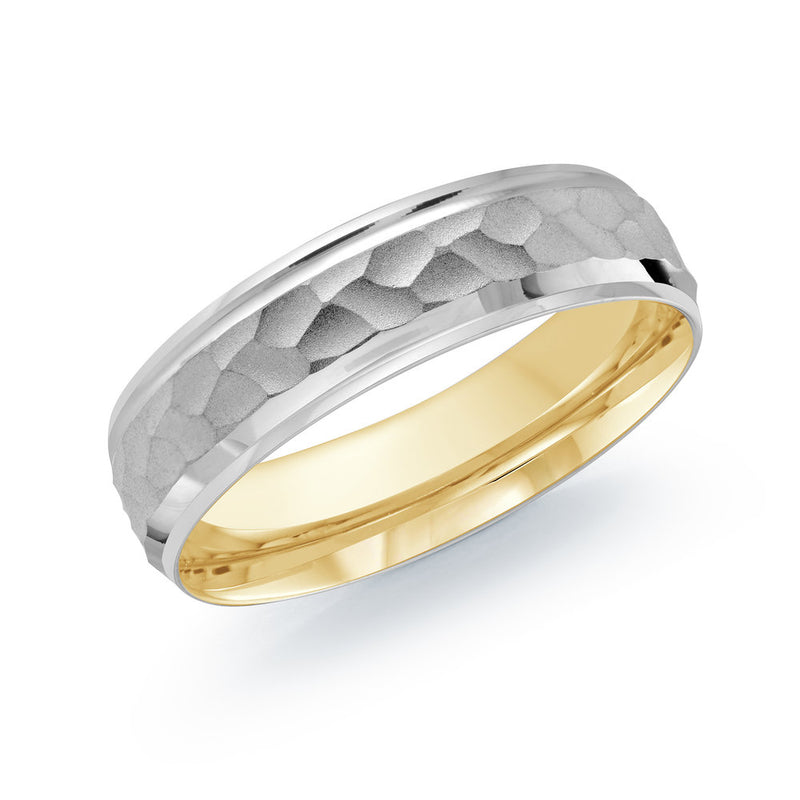 Hammered Centre Double Paved Gold Ring