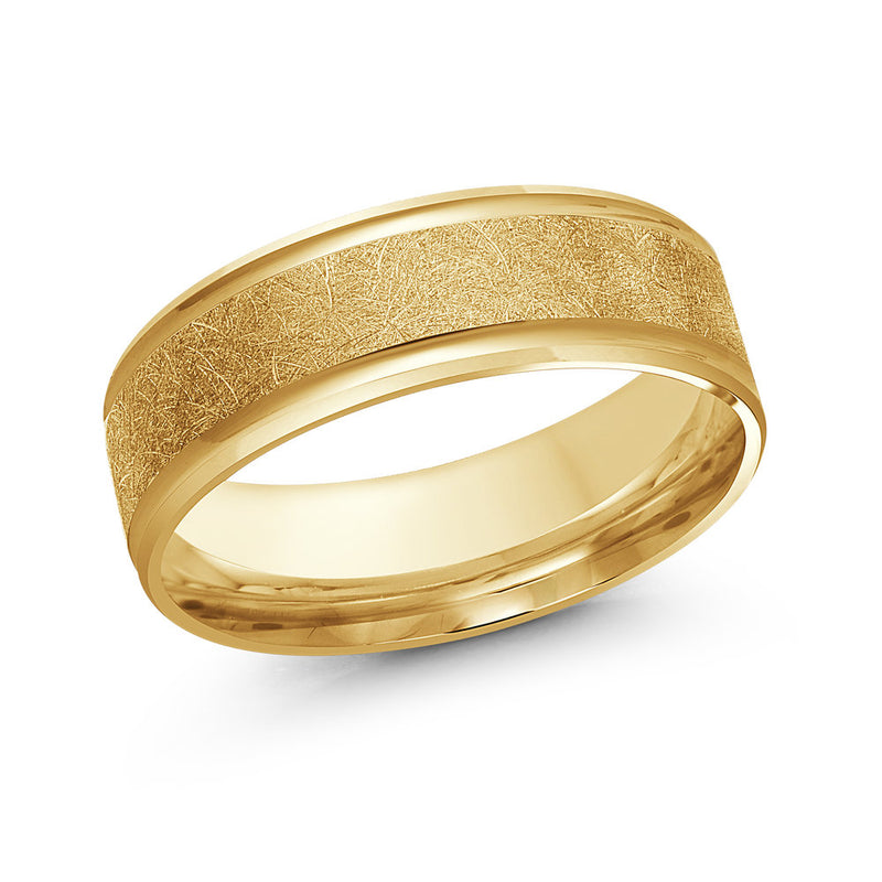 Painter's Brush Finish Centre Paved Gold Ring