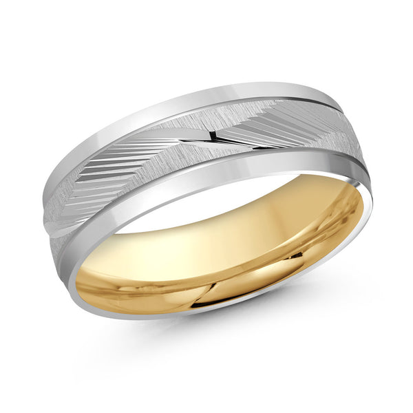 Ridged Wave Centre Paved Gold Ring