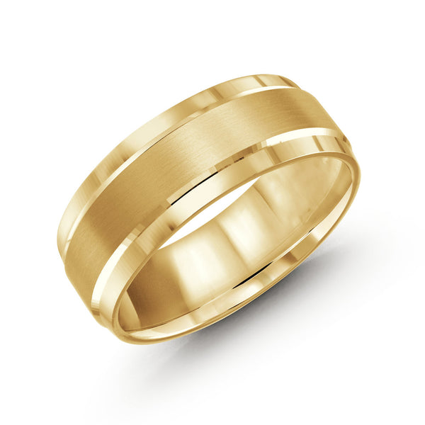 Thick Brushed Finish Paved Edging Gold Ring