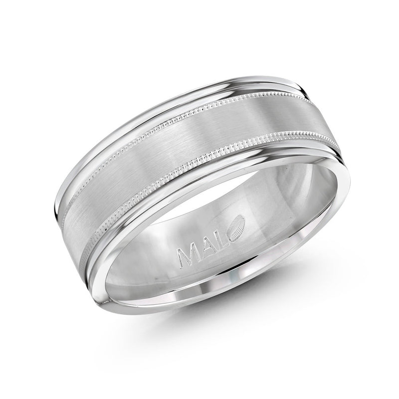 Thick Brushed Finish Double Paved Edging Gold Ring