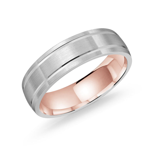 Thick Brushed Finish Double Line Gold Ring