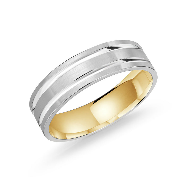 Slim Brush Finished Double Line Gold Ring