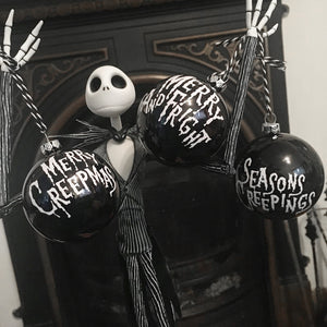 Set of 3 Black Creepmas Baubles
