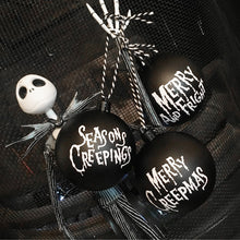 Load image into Gallery viewer, Set of 3 Black Creepmas Baubles