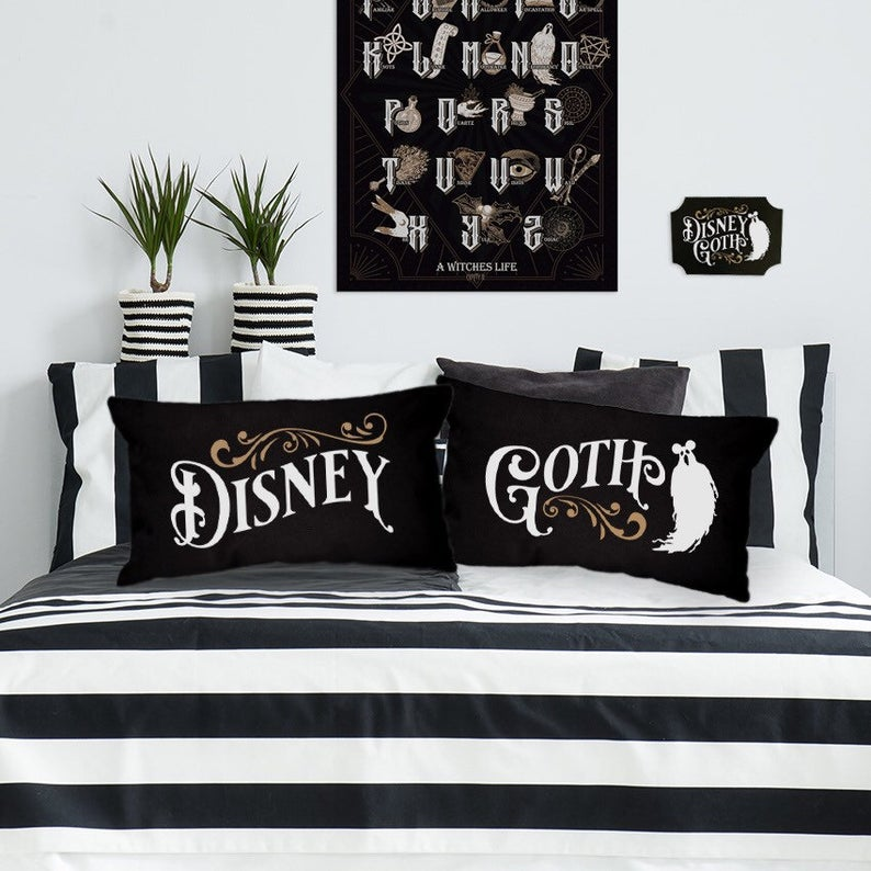 Pair of Disney Goth Cushions