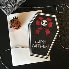 Load image into Gallery viewer, Happy Birthday Skull Bow Coffin Card