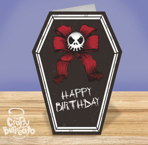 Happy Birthday Skull Bow Coffin Card