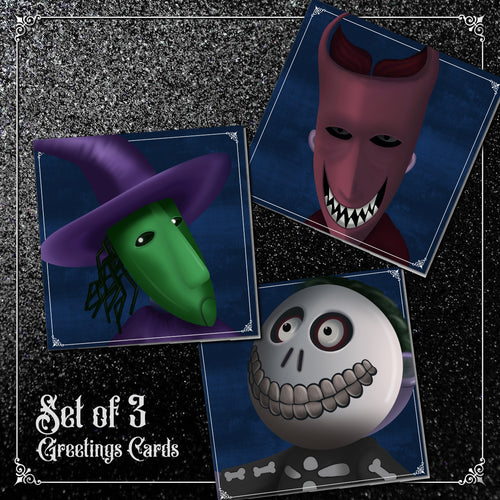 Set of 3 Lock, Shock and Barrel Greetings Cards