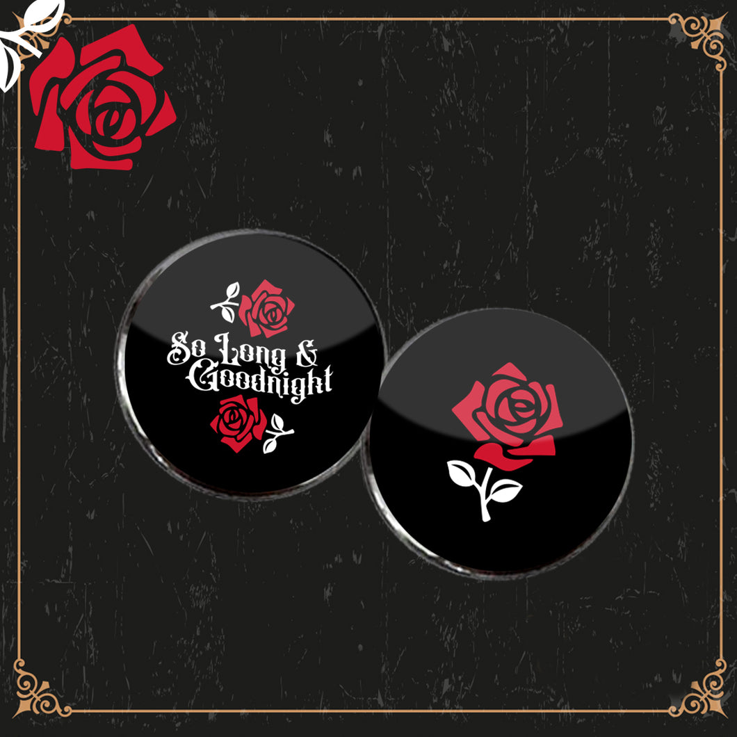 Set of 2 So Long and Good Night Button Badges