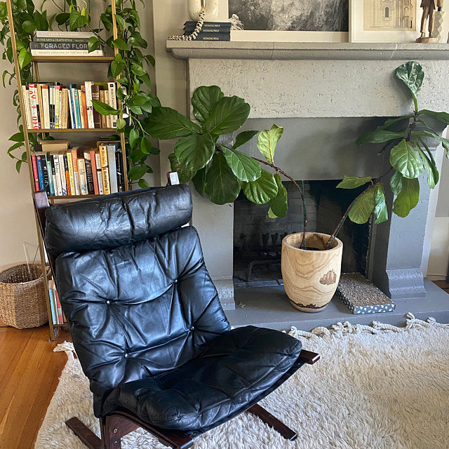 Black Leather High Back Siesta Chair by Ingmar Relling