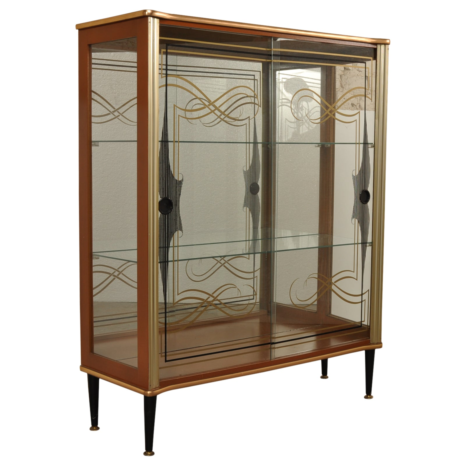 1950s black and gold patterned glass cocktail / display cabinet