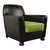 Art Deco Vinyl Club Chair in black and lime green