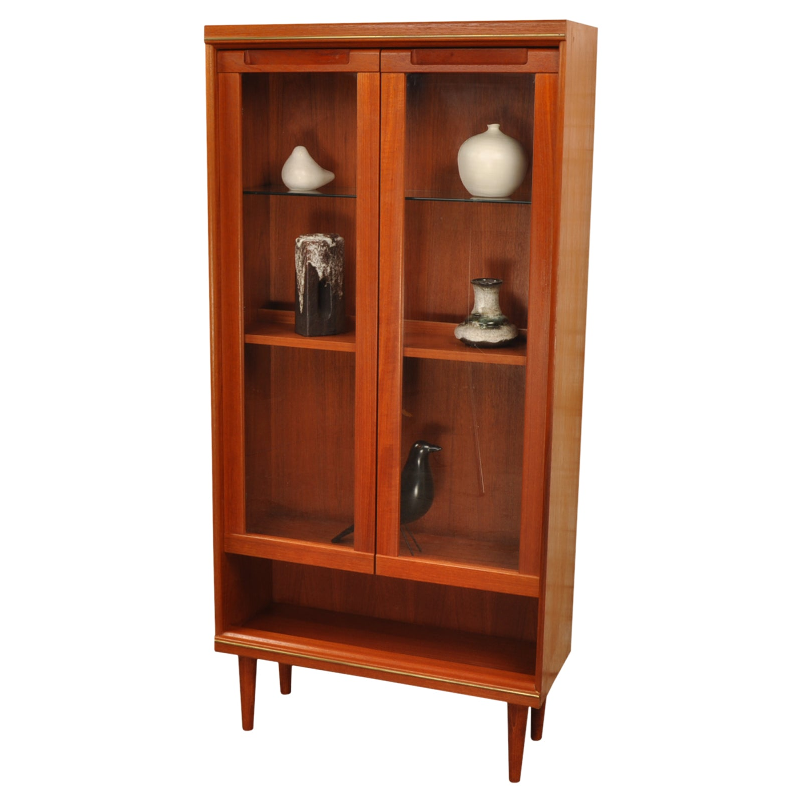 Vintage G Plan Display Cabinet or Bookcase with brass trim.