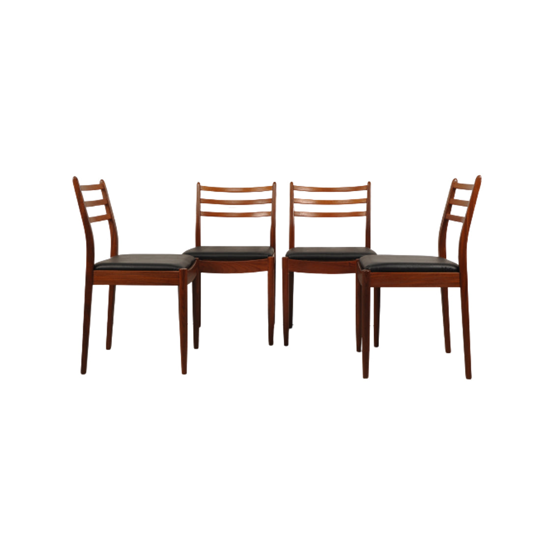 G Plan Fresco Ladderback Dining Chairs, Set of 4. Black vinyl and teak