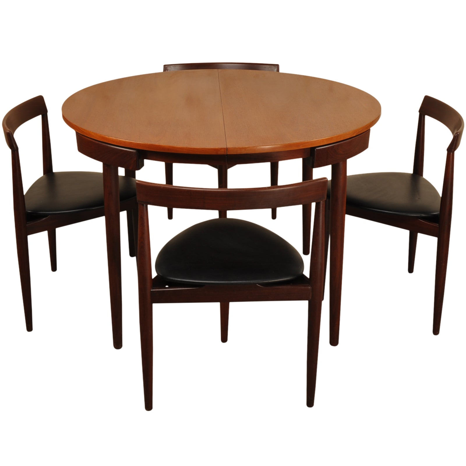 RESERVED. Hans Olsen Extendable Dinette Dining Table with 6 tripod chairs for Frem Rojle Mobelfabrik