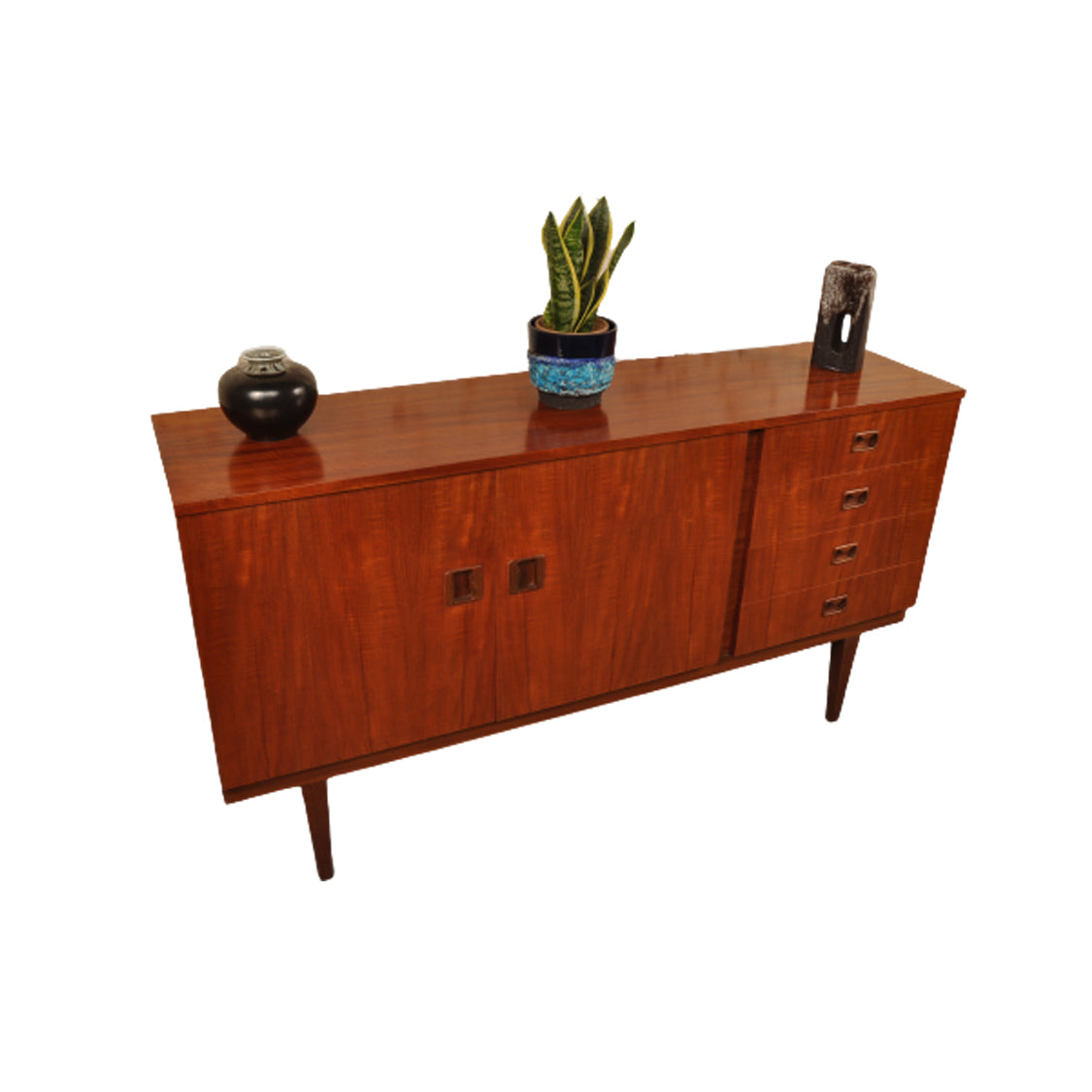 1960's Zebrano Teak and Afromosia Sideboard / Drinks Cabinet