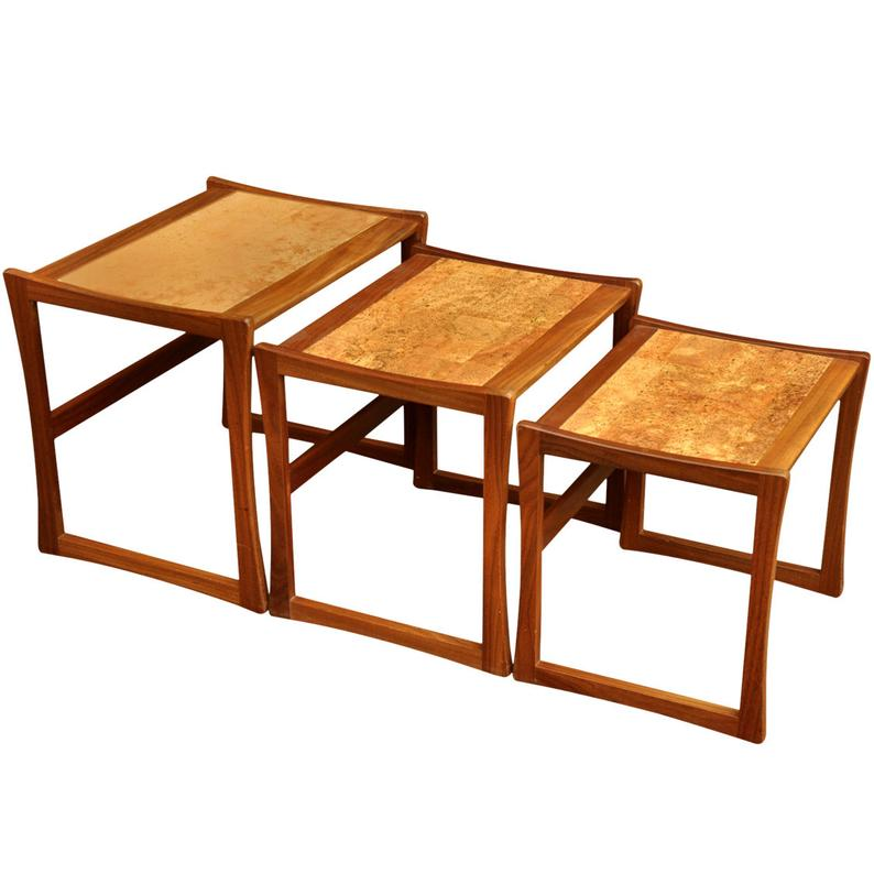 Rare G Plan Cork Nest of Tables by R A Bird