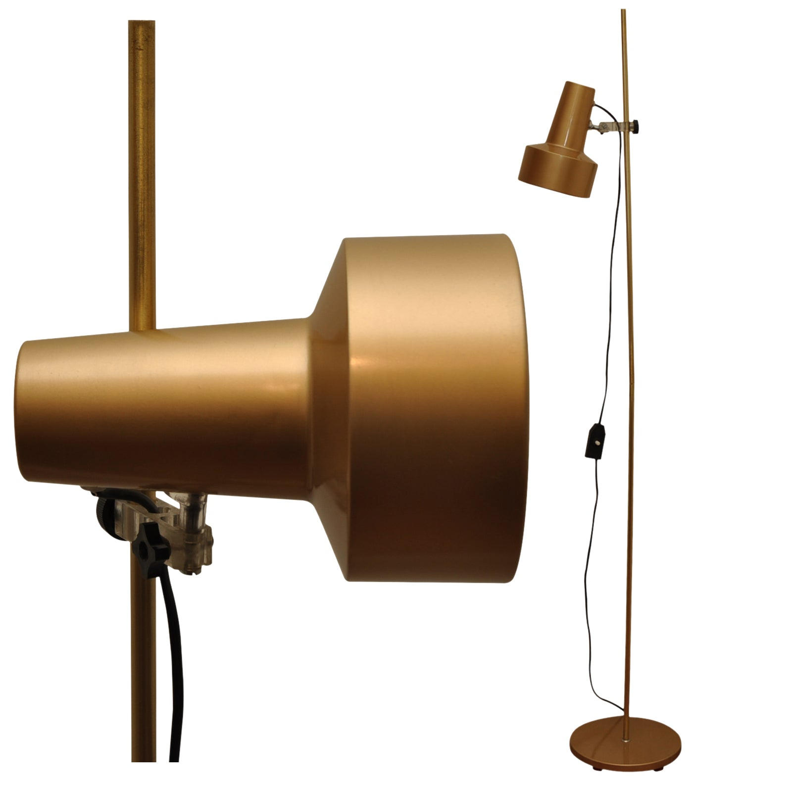 Swedish A G Belid style brass adjustable floor spot lamp