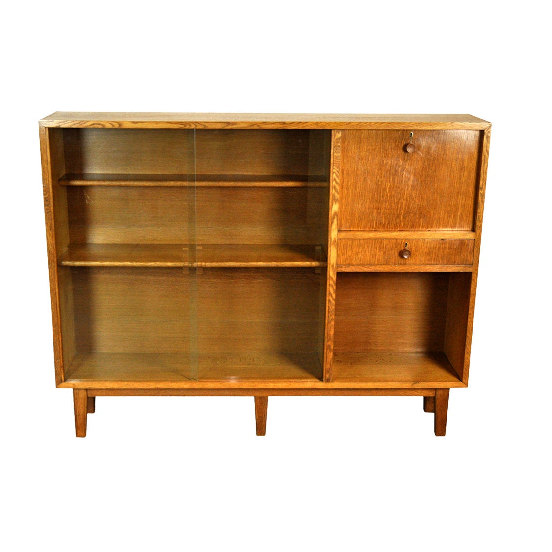 Mid Century Oak Wall Unit or Bookcase by H. Baldock - AndersBrowne Interiors