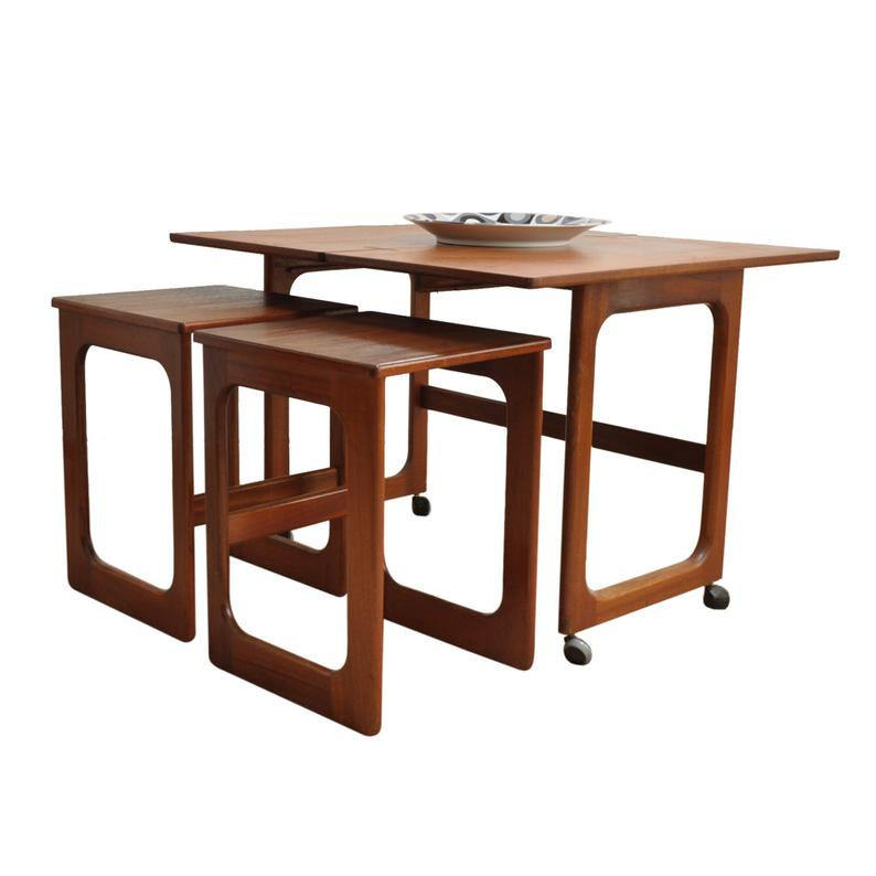 Folding Teak Triform Nest of Tables by McIntosh. Available from AndersBrowne Ltd.