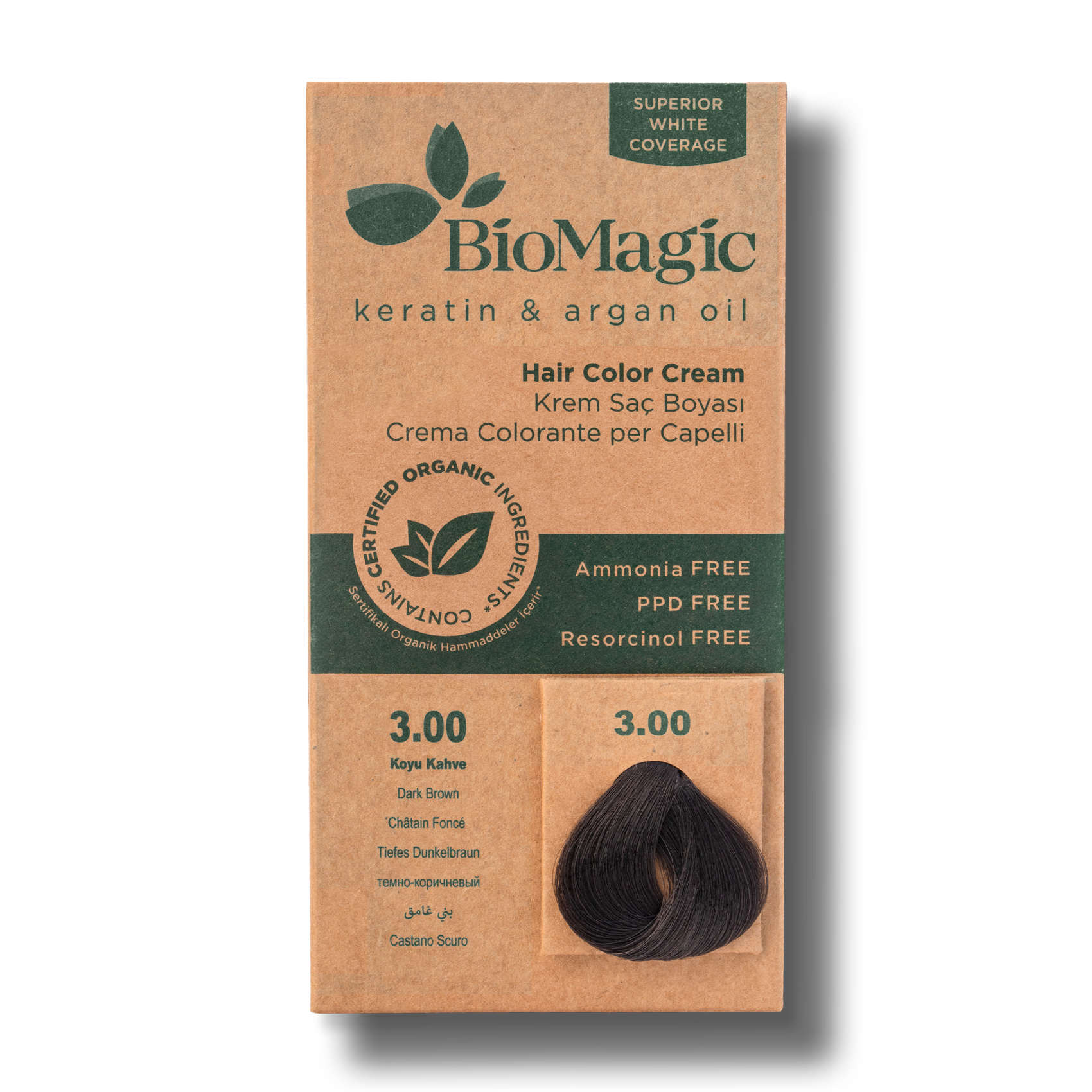 Vopsea de par  fara amoniac BioMagic 3.00 Dark Brown