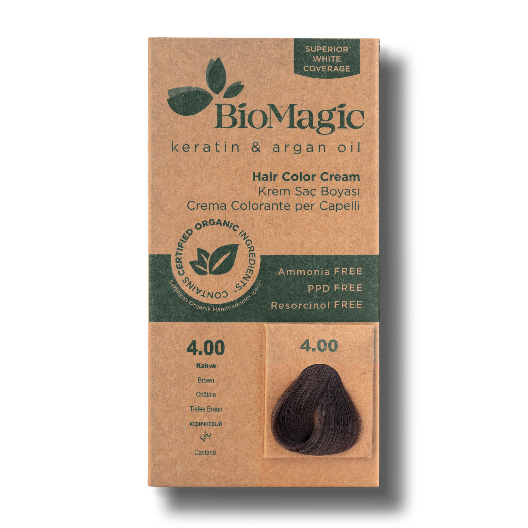 Vopsea de par  fara amoniac BioMagic 4.00 Brown
