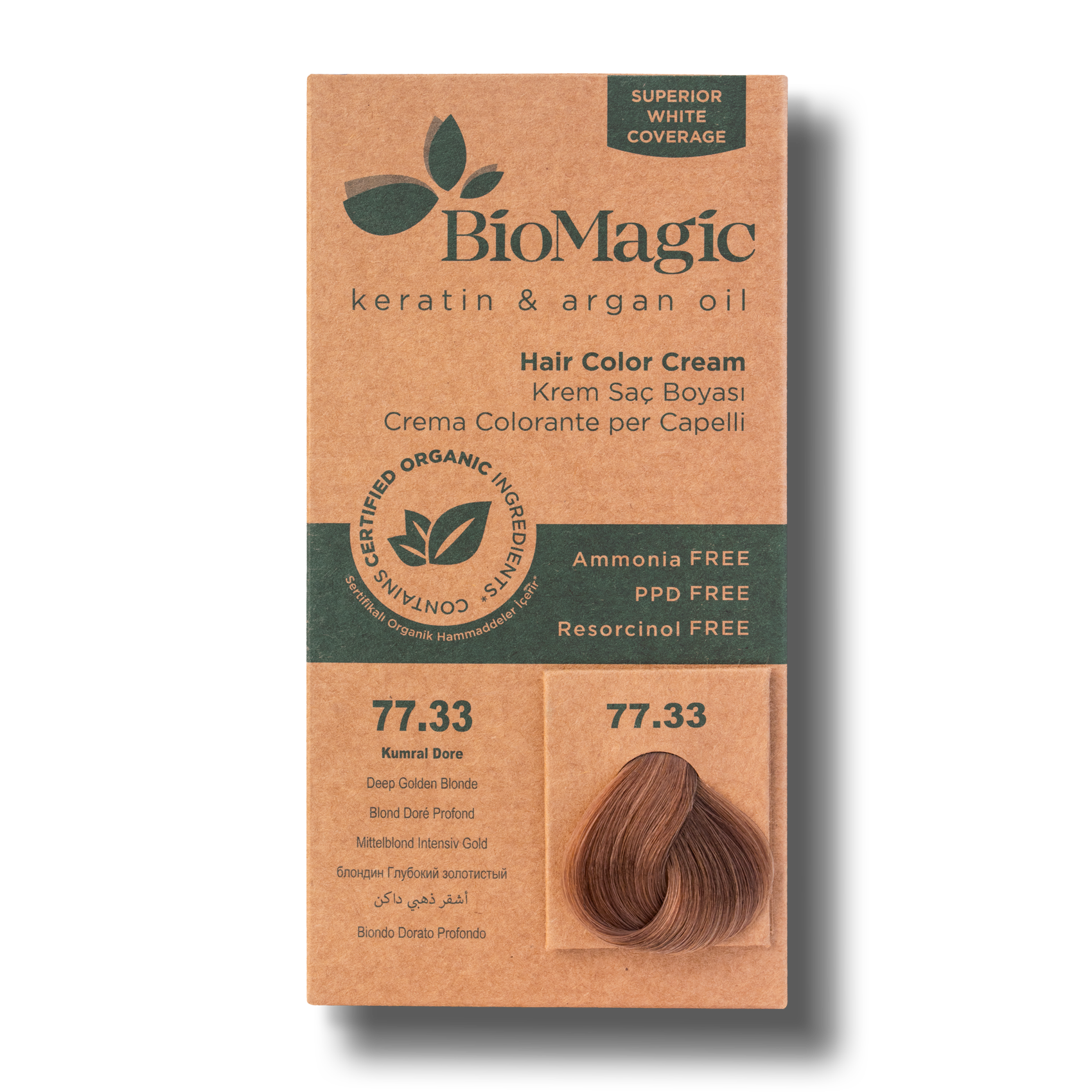 Vopsea de par  fara amoniac BioMagic 77.33 Deep Golden Blonde
