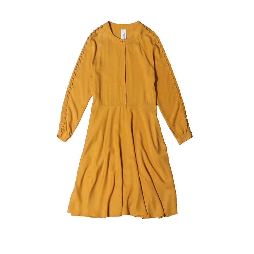 futureclassics josephine side buttoned dress honey gold
