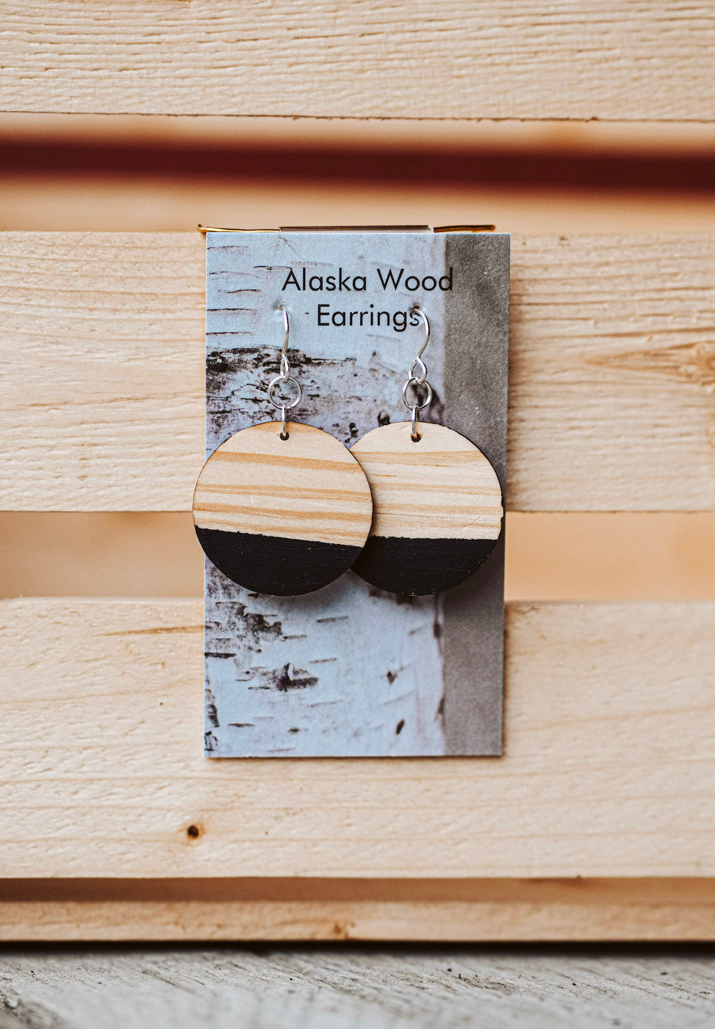 Alaska Wood Earrings Sterling Silver Black Circle Earrings
