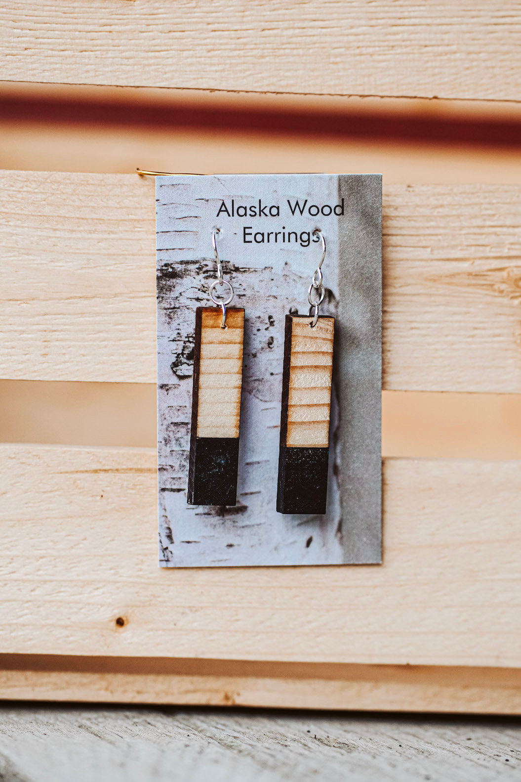 Alaska Wood Earrings Sterling Silver Black Rectangle Earrings