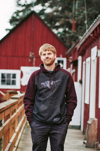 Men Charcoal/Burgundy Humpback Whale Pullover