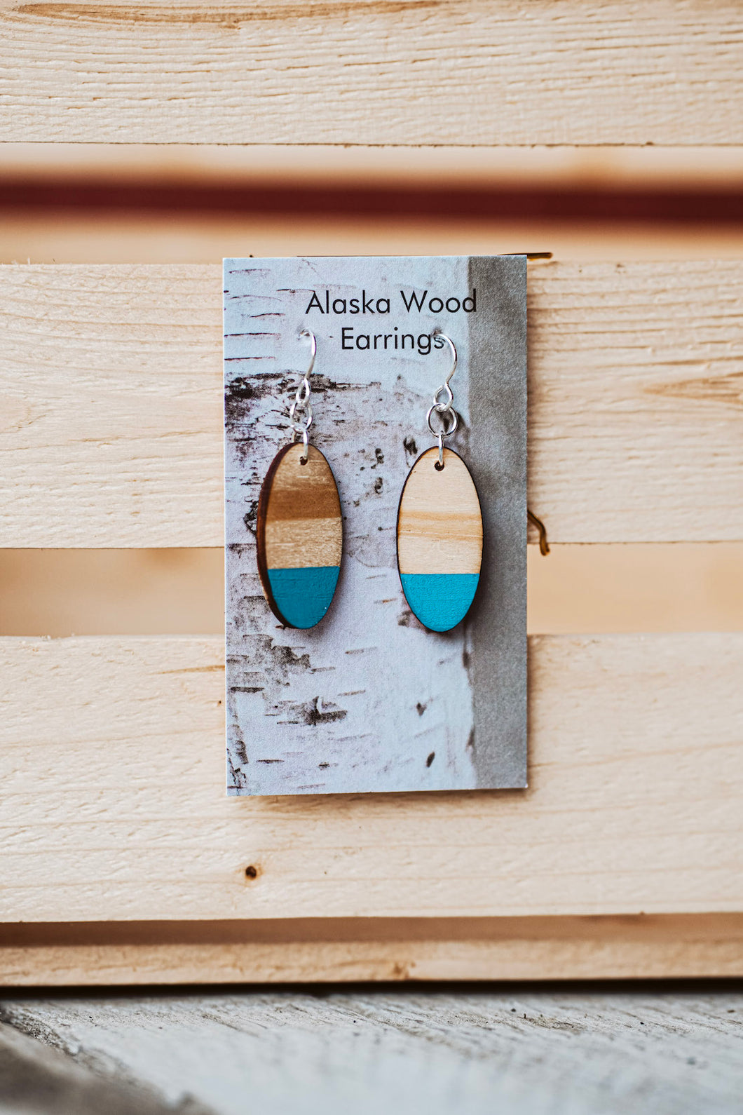 Alaska Wood Earrings Sterling Silver Teal Oval Earrings
