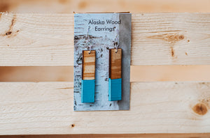 Alaska Wood Earrings Sterling Silver Teal Rectangle Earrings