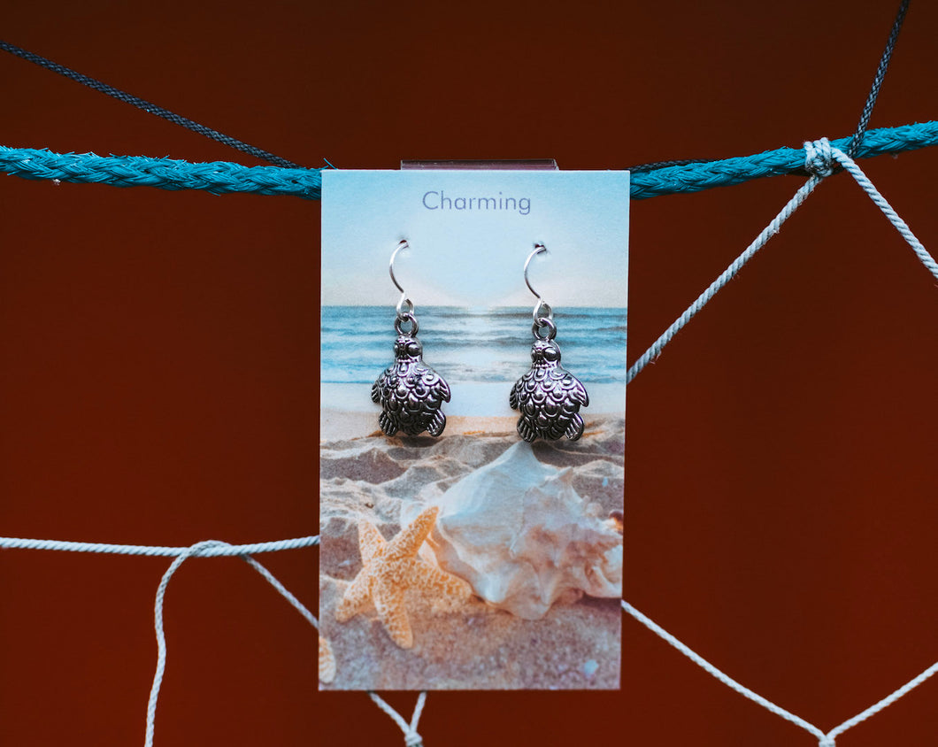 Charming Sterling Silver Turtle Earrings
