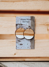 Load image into Gallery viewer, Alaska Wood Earrings Sterling Silver White Circle Earrings