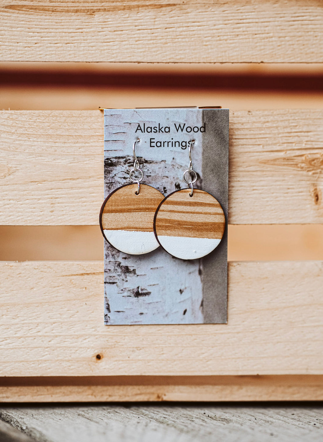 Alaska Wood Earrings Sterling Silver White Circle Earrings