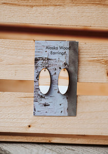 Alaska Wood Earrings Sterling Silver White Oval Earrings