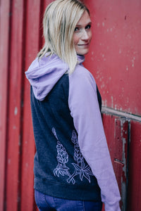 Women Purple/Charcoal Lupine Cowl Pullover