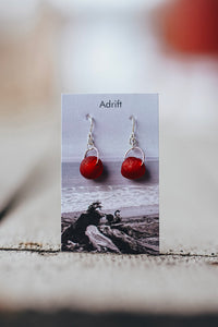 Adrift Sterling Silver Red Berry Large Bead Earring