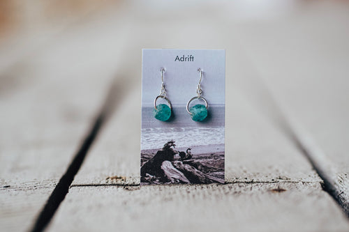 Adrift Sterling Silver Teal Large Bead Earring