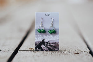 Adrift Sterling Silver Green Small Double Bead Earrings