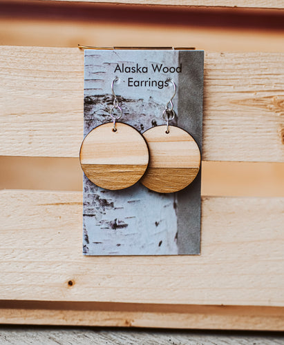 Alaska Wood Earrings Sterling Silver Gold Circle Earrings