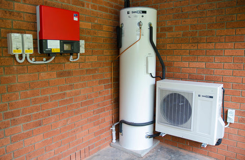 Sanden heat pump hot water system and solar power system