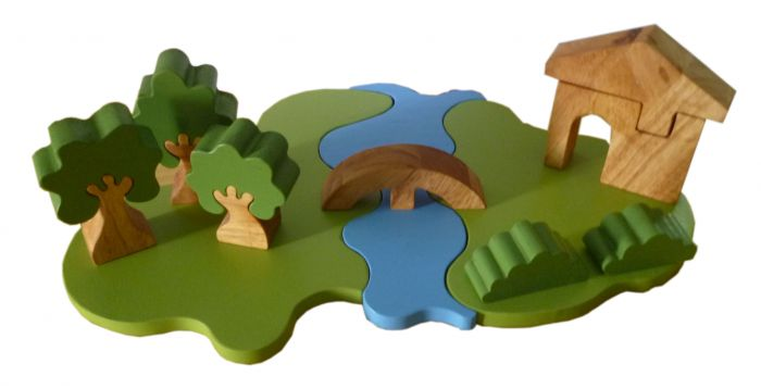 QToy Steiner Wooden Landscape Play Set