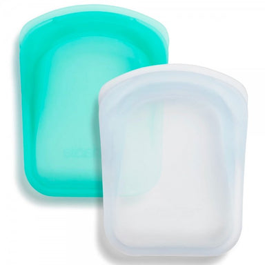 Stasher Silicone Zip Lock Pocket 2 Set Clear & Aqua 22ml